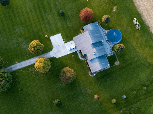 Aerial view of house