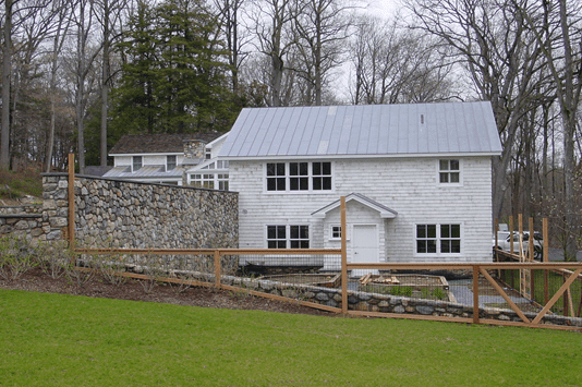 Front view of the house with garden
