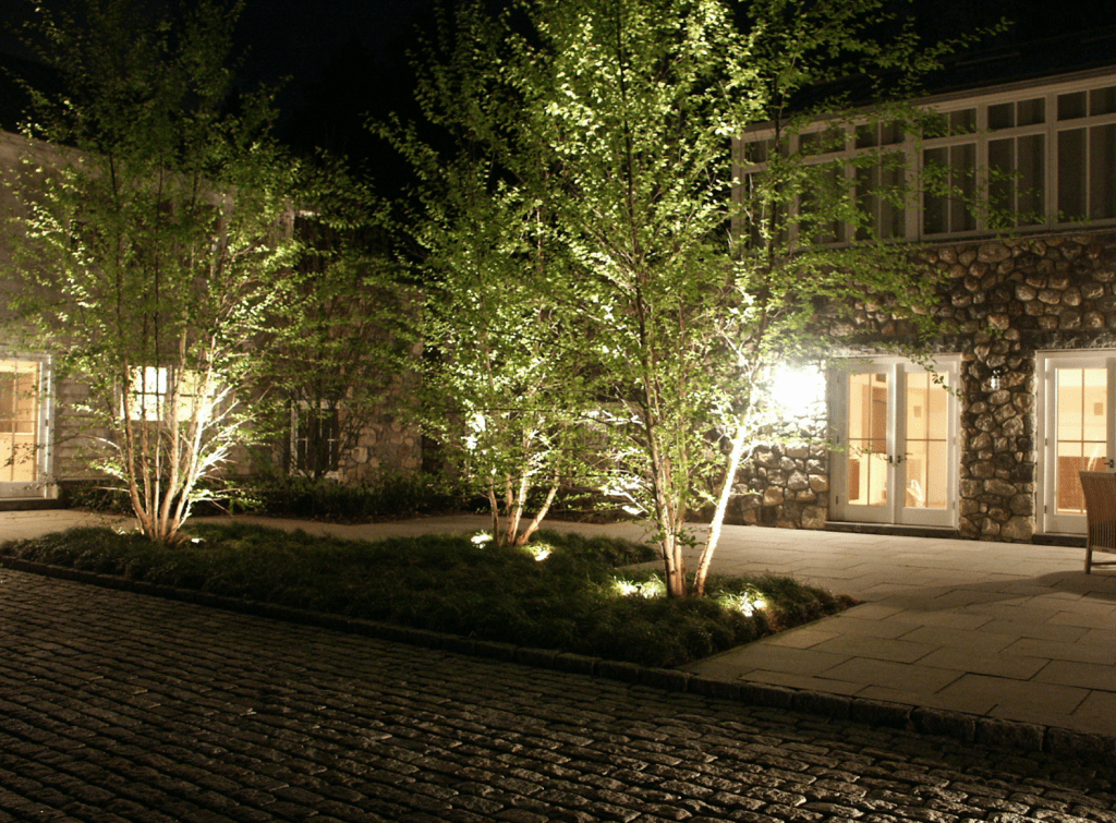 night view of the house's exterior